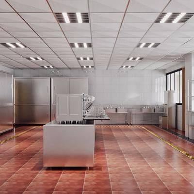 厨房, 后厨, 置物架, 储物柜, 现代