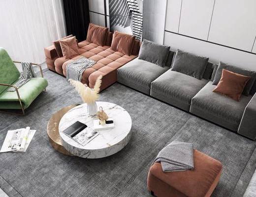 沙发组合, 墙饰, 单椅, 茶几, 摆件
