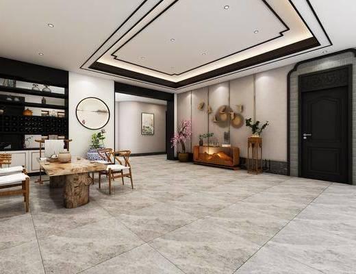 接待大廳, 茶室, 茶桌, 單人椅, 裝飾畫, 掛畫, 墻飾, 邊柜, 裝飾柜, 裝飾品, 陳設品, 新中式