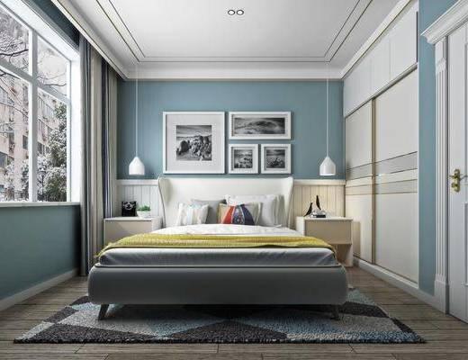 卧室, 双人床, 照片墙, 装饰画, 挂画, 吊灯, 床头柜, 衣柜, 装饰柜, 北欧