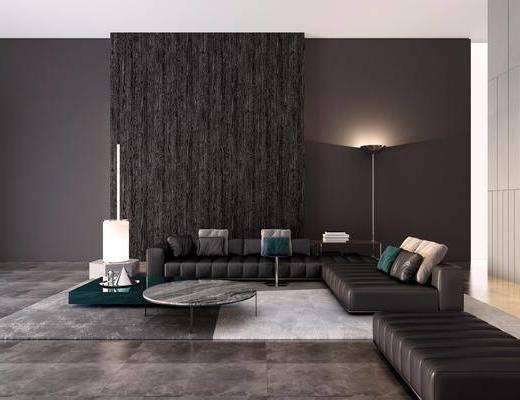 意大利Minotti现代皮革转角沙发组合3D模型, 沙发组合, 多人沙发, 茶几