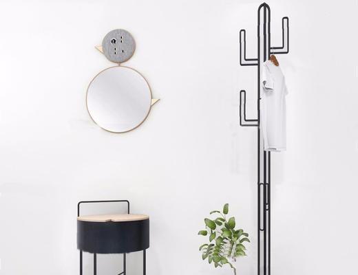 现代简约, 衣架, 镜子, 植物, 组合