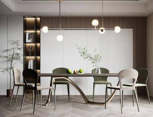 餐桌, 桌椅组合, 吊灯, 花瓶, 植物
