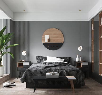 雙人床, 床具組合, 吊燈, 墻飾, 衣柜
