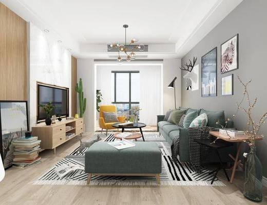 现代客厅, 现代餐厅, 沙发茶几组合, 吊灯, 挂画, 餐桌椅, 餐桌, 椅子, 边柜, 鞋柜, 置物架