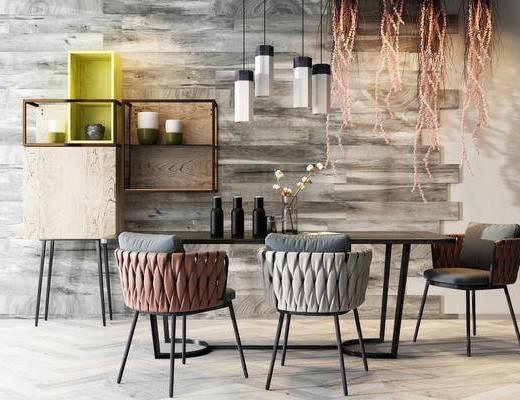 桌椅组合, 餐桌, 椅子, 吊灯, 置物架, 摆件, 花瓶, 现代