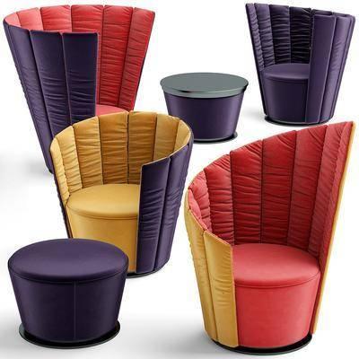现代, 单人沙发, 休闲椅, 休闲沙发, 沙发凳, 沙发脚踏, 沙发组合