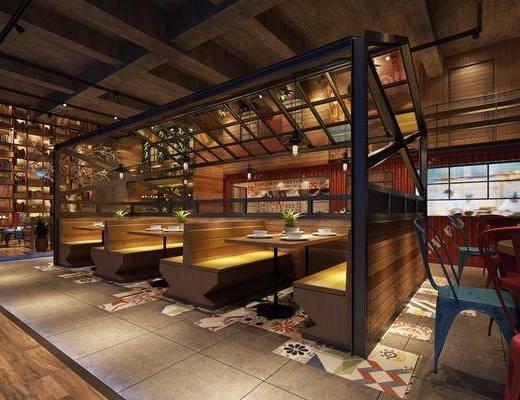 餐厅, 餐桌, 单人椅, 卡座, 餐具, 吊灯, 干树枝, 餐椅, 工业风