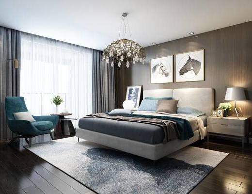 卧室, 现代卧室, 床具组合, 床头柜, 台灯, 吊灯, 单椅, 现代