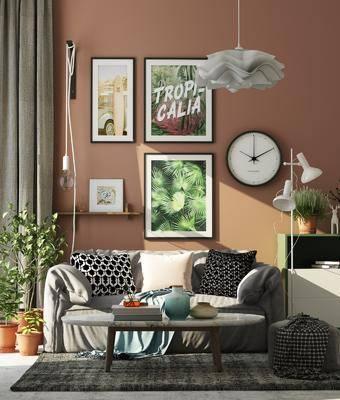 北欧沙发茶几组合, 北欧沙发, 北欧, 沙发, 植物, 时钟, 装饰画