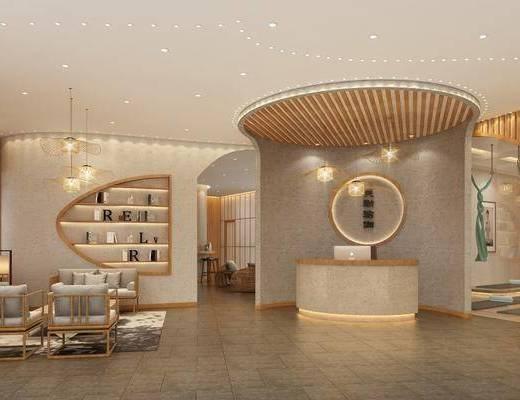 瑜伽大厅, 多人沙发, 单人沙发, 茶几, 边几, 台灯, 吊灯, 前台, 书柜, 装饰柜, 书籍, 装饰品, 陈设品, 单人椅, 新中式