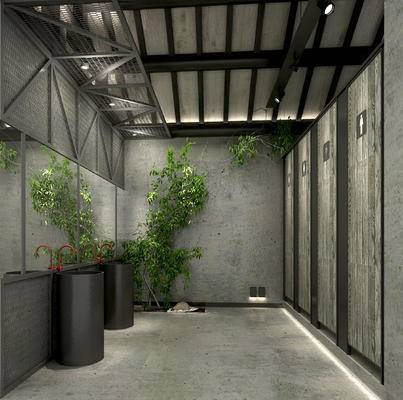 工业风卫生间, 公共卫生间, 卫生间洗手台, 卫生间柜, 复古卫生间