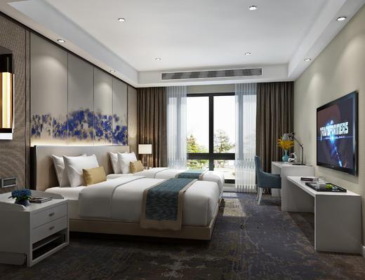 新中式客房, 标间, 床, 书桌椅, 床头柜, 壁灯, 床头背景墙, 电视柜