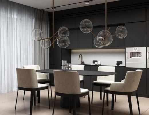 餐厅, 桌椅组合, 餐桌, 餐椅, 单人椅, 吊灯, 新中式