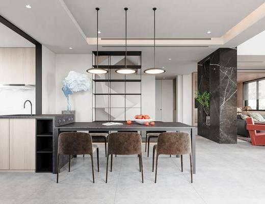 现代, 餐厅, 厨房, 家装