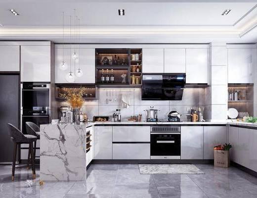 厨房橱柜, 厨房电器, 厨房用品, 厨具组合, 吧台椅, 装饰品, 摆件组合, 现代