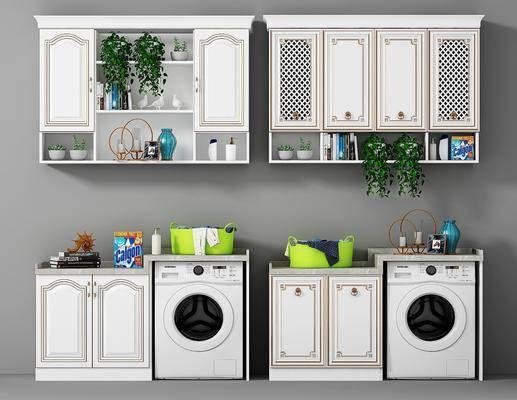 橱柜, 卫浴柜架, 北欧卫浴柜架组合, 洗衣机, 摆件, 卫浴小件, 植物, 盆栽, 北欧