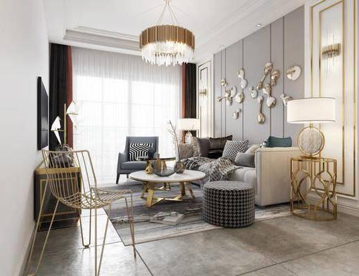 现代客厅, 客厅, 现代吊灯, 水晶吊灯, 轻奢吊灯, 墙饰, 壁灯, 台灯, 边几, 茶几, 沙发, 多人沙发, 电视柜, 椅子