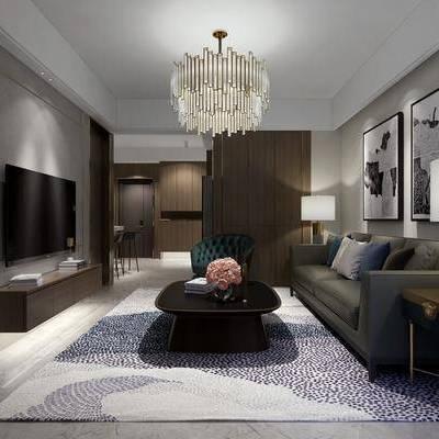 客厅, 餐厅, 多人沙发, 单人沙发, 边几, 电视柜, 台灯, 吧台, 吧椅, 橱柜, 吊灯, 装饰画, 茶几, 现代