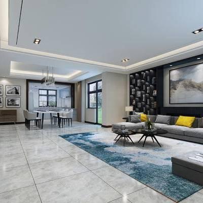 现代, 客厅, 餐厅, 沙发, 现代客厅, 现代沙发