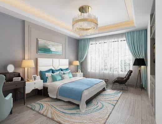 卧室, 双人床, 床头柜, 台灯, 装饰画, 落地灯, 单人椅, 书桌, 凳子, 单人沙发, 挂画, 吊灯, 美式