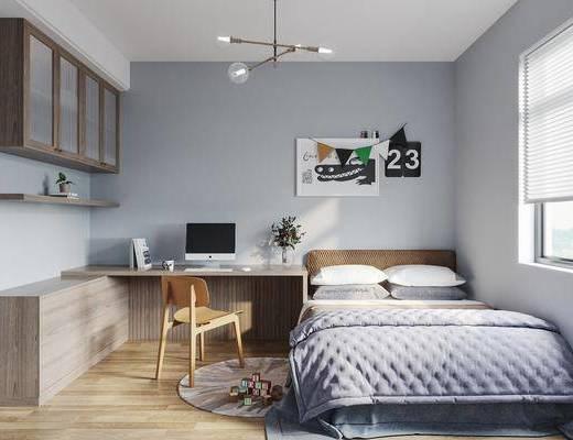 儿童房, 书房, 桌椅组合, 床具组合, 北欧