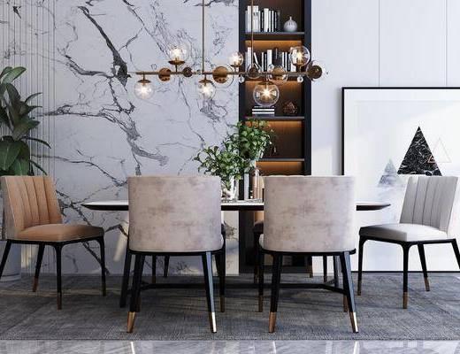 餐桌, 桌椅组合, 吊灯, 餐具组合, 花瓶