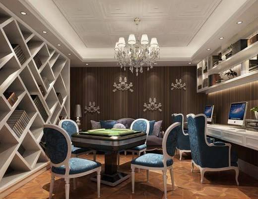 棋牌室, 桌椅组合, 吊灯, 背景墙