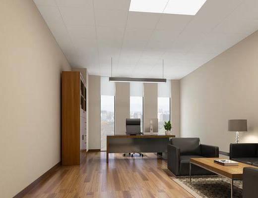 办公室, 办公桌, 办公椅, 多人沙发, 边几, 台灯, 单人沙发, 单人椅, 装饰柜, 装饰画, 挂画, 吊灯, 摆件, 装饰品, 陈设品, 现代