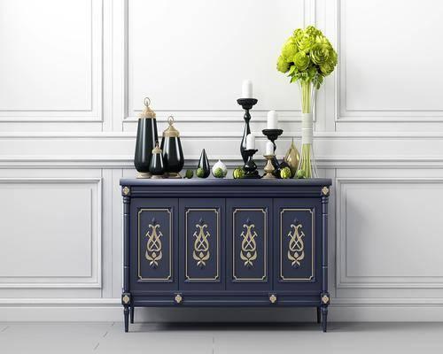 法式边柜, 法式, 边柜, 装饰柜, 花瓶, 摆件