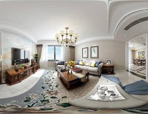 全景模型, 客厅, 餐厅, 电视柜, 沙发, 吊灯