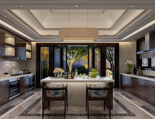 厨房, 新中式厨房, 橱柜, 中岛柜, 摆件组合, 吧椅, 花瓶花卉, 新中式