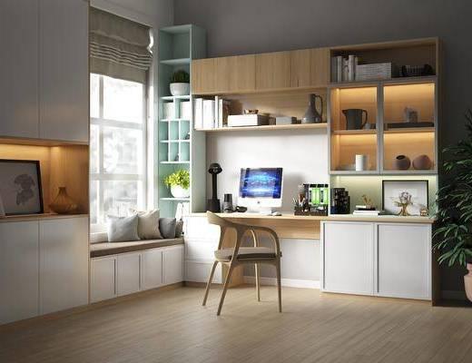 书柜, 书架, 书桌椅组合