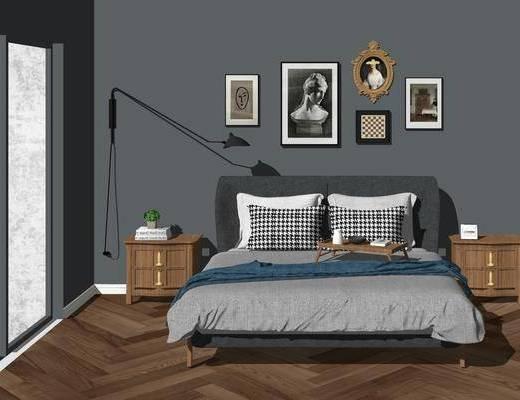 双人床, 装饰画, 床头柜, 摆件, 床具组合