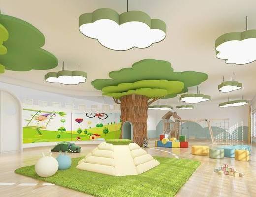 儿童游乐, 活动室, 吊灯, 玩具, 凳子, 现代