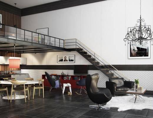单身公寓, 卧室, 单人椅, 桌子, 单人沙发, 装饰画, 挂画, 吊灯, 楼梯, 凳子, 多人沙发, 边柜, 落地灯, 北欧