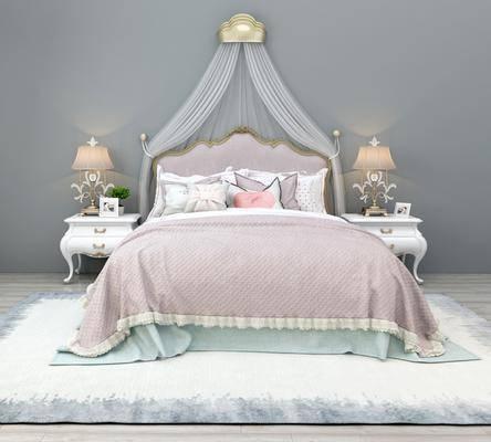 床具组合, 双人床, 床头柜, 台灯, 欧式轻奢