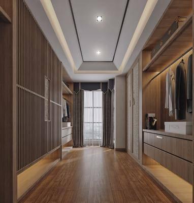 衣帽间, 衣橱, 衣柜, 衣服, 新中式