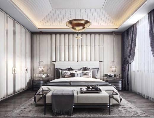 双人床, 床头柜, 吊灯, 窗帘, 衣柜