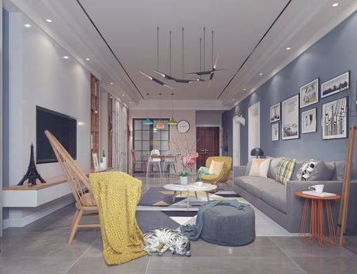 客厅, 多人沙发, 边几, 茶几, 脚踏沙发, 单人椅, 落地灯, 装饰画, 挂画, 照片墙, 餐桌, 餐椅, 吊灯, 墙饰, 摆件, 装饰品, 陈设品, 北欧