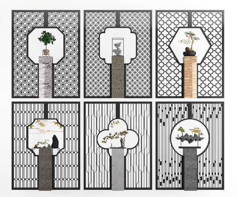 花格摆件, 隔断屏风, 墙饰盆栽, 摆件, 装饰品, 陈设品, 新中式