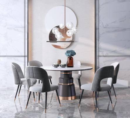 餐桌, 桌椅组合, 吊灯, 墙饰
