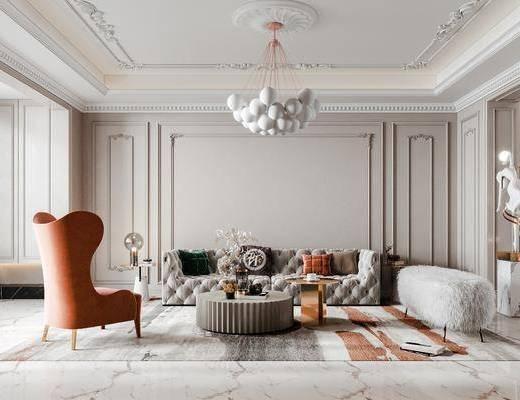 法式轻奢客餐厅, 沙发, 茶几, 餐桌椅, 吊灯, 雕塑