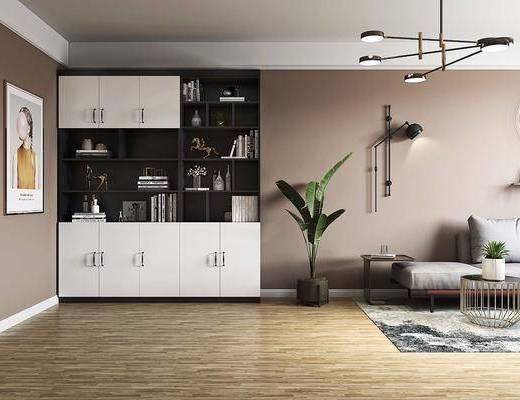 书柜, 装饰画, 沙发组合, 吊灯, 盆栽植物