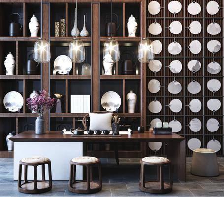 桌椅组合, 茶桌椅组合, 装饰柜组合, 新中式
