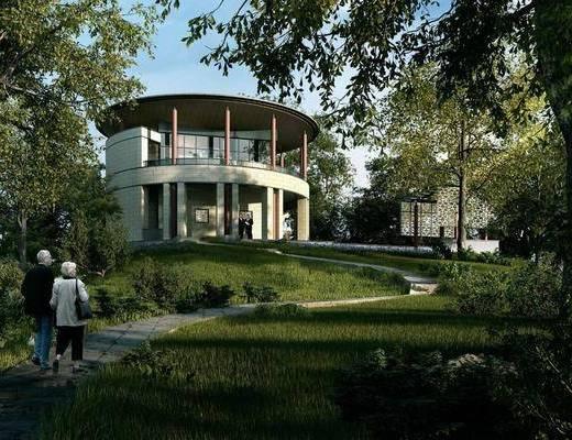 别墅, 男人, 人物, 女人, 树木, 绿植植物, 门面门头, 草地, 现代
