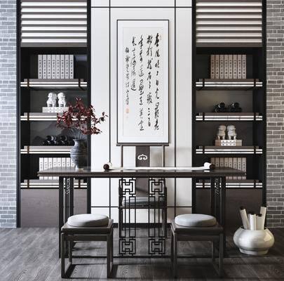 中式书桌, 书架, 单椅