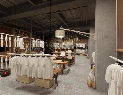 店铺, 衣架, 服饰, 吊灯, 展示柜, 沙发组合, 单椅, 酒柜