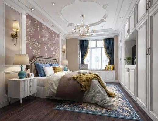 卧室, 简欧, 欧式, 床, 床头柜, 地毯, 吊灯, 台灯, 壁灯, 衣柜, 飘窗