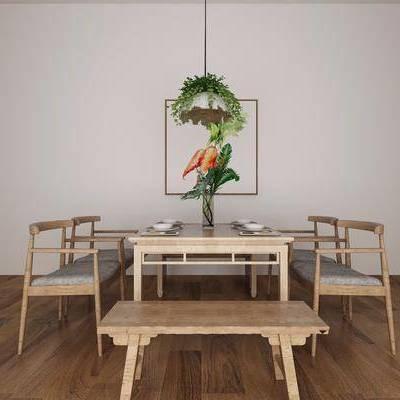 中式餐桌, 中式, 餐桌, 椅子, 凳子, 装饰画, 吊灯
